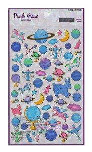 【Pink Genic Seal】ピンクジェニックシールUNIVERSE/ユニバース NO.07355 金の箔押しクリアシール★宇宙世界天体星座柄地球儀地球柄ペガサス★【3cmメール便OK】