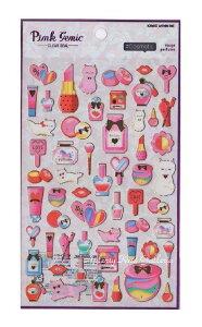 【Pink Genic Seal】ピンクジェニックシールCOSMETIC/コスメティック NO.07356 金の箔押しクリアシール★コスメグッズ化粧品パフューム香水口紅白猫ネコちゃんクリームミラーマニキュア★【3cmメ