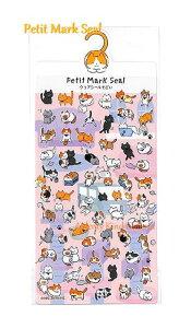 【Petit Mark Seal】プチマークシールネコ NO.24533 ★猫柄のシール金の箔押しシールクリアシール素材の小さいシールseal黒ねこ柄白ニャンコグッズアニマルミニシール動物柄シールプチシールに