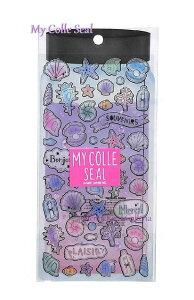 【My Colle Seal】マイコレシール アクアシャーベット NO.01694 ★ボトルデザイン台紙・カラー箔押しクリアシール ★貝殻デザインシェル柄かいがら海の生き物お魚柄あこや貝ひとで珊瑚/文字シ