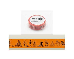 【在庫限り】カモイ/マスキングテープ mt×Olle Eksell オーレエクセル Kids MTOLLE02/濃いオレンジ色 ★幅15mmのカモ井のマステmtオーレデザイン子供柄自転車なわとびプレイ柄キッズデザイン人物柄