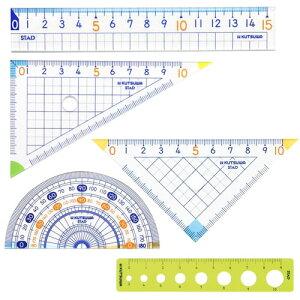 【新学期に】クツワ/STAD 算数定規セット(5点入り) AP01A ★直線定規三角定規分度器ケース入りセット/さしさんかくじょうぎぶんどきセット/ご入学準備ご進級学校算数数学図形描写採寸に★