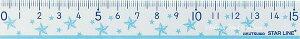 【新入学グッズ】クツワ スターライン/STARLINE 学校定規15cm ST126BL(ブルー/スター柄)お名前シール付き ★15センチじょうぎものさし透明仕様/線引き算数数学ご入学新学期のご準備/星デザ