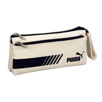 Ctswa /PUMA PUMA double flat pen case (white) 927 PMWH ★ put your pencil case / pencil case / brush / the school / enrollment of preparation and storage power / accessory pouch/MiniPCI / handle with ★