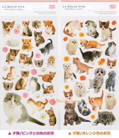 【MIND WAVEシール】フォトシリーズシール 子猫ちゃん【ご選択:ピンクと白色のお花(10994)オレンジ色のお花(10941)】★子ネコのシール子ねこちゃんのフォトシール/seal子猫グッズにゃんこグッズ子猫写真シールガーベラのフラワーシール★【3cmメール便OK】
