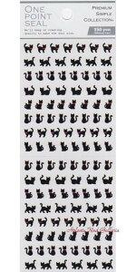 【プチシール】ワンポイントシール 黒ネコ NO.750042 ★プチマークシールスケジュール帳にミニミニシール黒ねこ柄クロネコ動物シールアニマルシールどうぶつデザインニャンコちゃんくろ