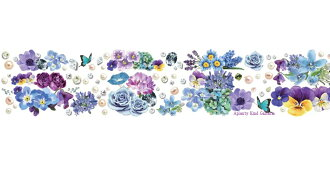 Blue & Violet-Blue and purple YD-MK-058 Flower series Line yano design masking tape flower series line and round top Yano design master ★ width 30 mm floral perforated on ur wall ROUND TOP Green's keynote ★