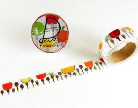 【第6弾】フォーク スペースクラフトVol.6 SC-MK-046 space craft masking tape 銀の箔押しデザイン★幅15mmのラウンドトップマスキングテープ/ストレートタイプ/フォークスプーン柄フルーツ野菜食卓食事デザート★【3cmメール便OK】