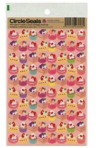【RYU-RYUシール】サークルシール ケーキ RCS-206 薄いピンク台紙★いちごのショートケーキカップケーキデザイン/RYURYUリュリュスイーツデザインのシールCircle Sealsホイップクリーム★【3cmメ