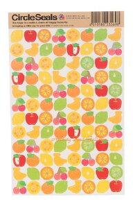 【RYU-RYUシール】サークルシール ミックスフルーツ RCS-169 ★フルーツデザイン/さくらんぼりんごアップル果物バナナ柑橘系オレンジみかんレモンRYURYUリュリュくだものシールCircle Sealsオレ