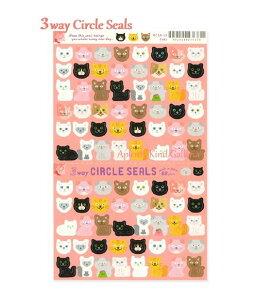 【New RYU-RYUシール】3Wayサークルシール キャット/Cats RCSN-18 ★ミシン目入りシール台紙、88枚 ★黒ねこちゃんデザインのシール/にゃんこちゃんネコ猫柄/3ウェイCircle Seals/RYURYUリュリュ/持ち運