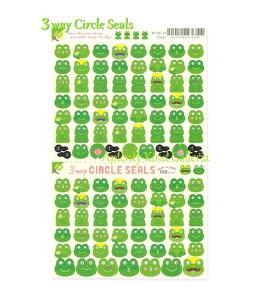 【New RYU-RYUシール】3Wayサークルシール カエル/Frogs RCSN-20 ★ミシン目入りシール台紙、108枚 ★かえるデザインのシール/かえるちゃん蛙げろげろおたま/3ウェイCircle Seals/RYURYUリュリュ/持ち運び
