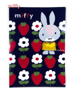 【miffyグッズ】ミッフィー A4クリアファイル S19BCFA4B/ネイビー(いちごと白いお花柄) ★ミッフィーのA4ファイルシングルポケットミッフィーグッズイチゴとフラワーデザイン黄色ドレス姿のう