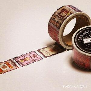 東京アンティーク マスキングテープ手芸の切手 MA−25C★幅25mmの東京アンティークのマステ/デコレーション装飾手芸裁縫デザイン切手柄スタンプデザインクラシックデザイン幅広タイプ★【3