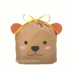 【Giftグッズ】アニマル巾着バッグ GBチャクマ Sサイズ(マチ有り) T-2780 DITTY BAG S ★幅21cm×高さ18cm×マチ6.5cm包むgift茶熊デザインのギフトバッグ袋くまちゃんフェイスデザインバッグ不織布