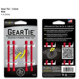 【アウトレット】【メール便可】 GEAR TIE GT3-4PK-10 レッド 3インチ 7.6cm 4本 ギアタイ カラフルな ビニタイ NITE IZE
