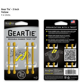 【アウトレット】【メール便可】 GEAR TIE GT3-4PK-16 イエロー 3インチ 7.6cm 4本 ギアタイ カラフルな ビニタイ NITE IZE