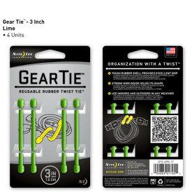 【アウトレット】【メール便可】 GEAR TIE GT3-4PK-17 ライム 3インチ 7.6cm 4本 ギアタイ カラフルな ビニタイ NITE IZE
