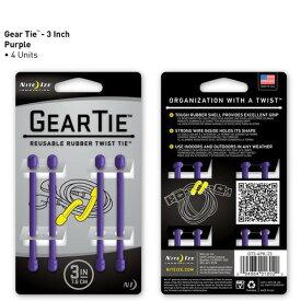 【アウトレット】【メール便可】 GEAR TIE GT3-4PK-23 パープル 3インチ 7.6cm 4本 ギアタイ カラフルな ビニタイ NITE IZE
