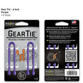 【アウトレット】【メール便可】 GEAR TIE GT6-2PK-23 パープル 6インチ 15.2cm 2本 ギアタイ カラフルな ビニタイ NITE IZE