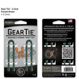 【アウトレット】【メール便可】 GEAR TIE GT6-2PK-28 グリーン 6インチ 15.2cm 2本 ギアタイ カラフルな ビニタイ NITE IZE