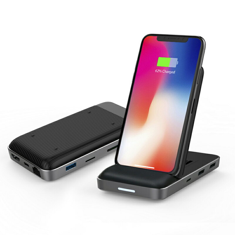 《在庫あり》Hyper++ Hyper Drive 8in1 USB-C Hub + Qi Wireless Charger Stand [HP15578]