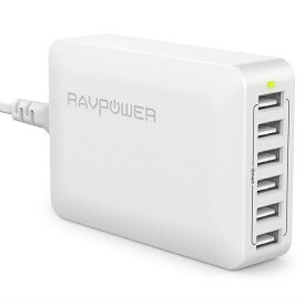 《在庫あり》RAVPower 各ポート最大2.4A、6台同時に急速充電、USB充電器 (60W 6ポート) ホワイト [RP-PC028-WH]