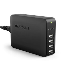RAVPower USB-C Power Delivery(PD)充電規格対応 USB-C ポートでMacBook Pro、MacBook、Nintendo Switchなどの人気機種急速充電可能なUSB ACアダプターUSB-C充電器 Power Delivery 60W 5ポート ブラック [RP-PC059]