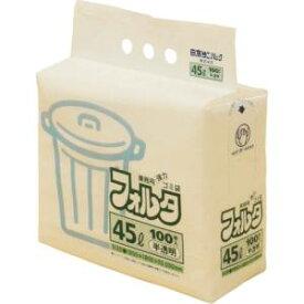 【日本サニパック】日本サニパック 業務用フォルタゴミ袋 100枚入F-4H 半透明 45L
