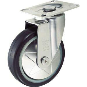 【トラスコ TRUSCO】トラスコ プレス製省音キャスター ゴム車輪・ステンレス金具 自在 Φ100 1個 TXSJ-100