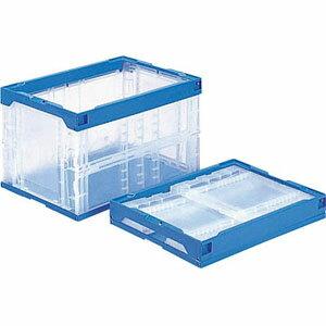 【サンコー 三甲】折りたたみコンテナ オリコン50B 透明/ブルー フタなし 容量50.6L 折畳み