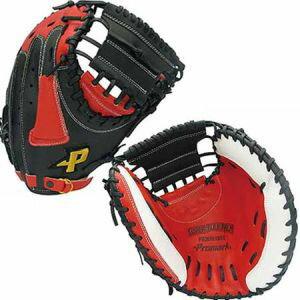 【プロマーク Promark】ソフトボール一般 捕手用キャッチャーミット ブラック/レッドオレンジ PCMS-4823