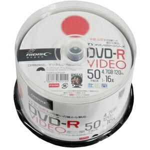 【ハイディスク HI DISC】TYDR12JCP50SP DVD-R DVDR CPRM対応 16倍速50枚 CPRM対応 TYコードDVD-R DVDR CPRM対応