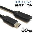 【パイナップル】USB3.1typeC延長ケーブル 60cm ブラック