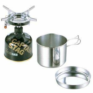 【キャプテンスタッグ】登山 一人用鍋セット オーリック 小型 ガスバーナーコンロ・クッカーセット M-6400