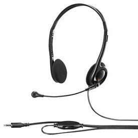 【バッファロー BUFFALO】両耳ヘッドバンド式ステレオヘッドセット 4極ミニプラグ接続 ブラック BSHSHCS100BK