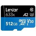 【レキサー Lexar 海外リテール品】【microSDXC 512GB】Class10 UHS-1 U3 V30 A2 SDアダプタ付 LSDMI512BBAP633A