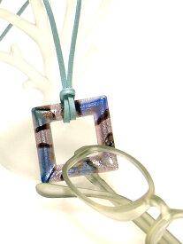 【定形外送料無料】ベネチアンガラス風★ペンダント式グラスホルダー 爽やかな【アクア】めがね掛け***#BL#GL