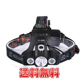 【送料無料】 超高輝度LEDヘッドライト【超強力5000 LM+充電式+IP65級生活防水+4モード点灯】 オリジナル3灯 3x CREE XM- T6 LED 3灯角度調節可能 アウトドアに最適