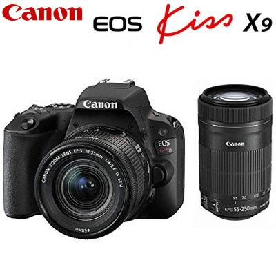 キヤノン デジタル一眼レフカメラ EOS Kiss X9 ダブルズームキット ブラック EOSKISSX9BK-WKIT CANON【送料無料】【KK9N0D18P】