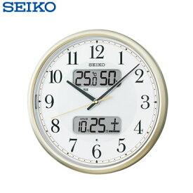 【キャッシュレス5%還元店】セイコー クロック 掛け時計 自動点灯 電波 アナログ カレンダー 温度 湿度 薄金色 パール KX384S SEIKO 【送料無料】【KK9N0D18P】