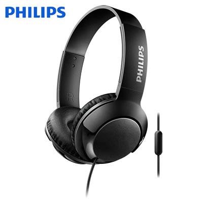 フィリップス Bass+ ヘッドホン オンイヤーヘッドフォン SHL3075 マイク付き 密閉型 SHL3075BK ブラック PHILIPS【送料無料】【KK9N0D18P】