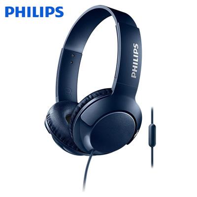 フィリップス Bass+ ヘッドホン オンイヤーヘッドフォン SHL3075 マイク付き 密閉型 SHL3075BL ブルー PHILIPS【送料無料】【KK9N0D18P】