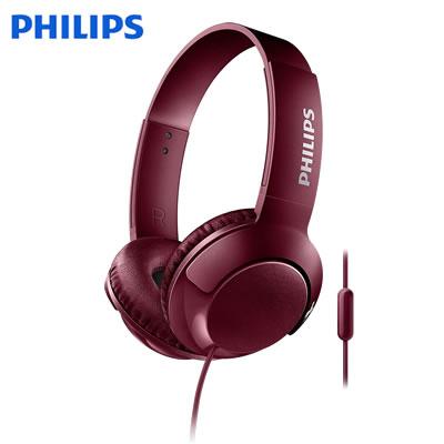 フィリップス Bass+ ヘッドホン オンイヤーヘッドフォン SHL3075 マイク付き 密閉型 SHL3075RD レッド PHILIPS【送料無料】【KK9N0D18P】