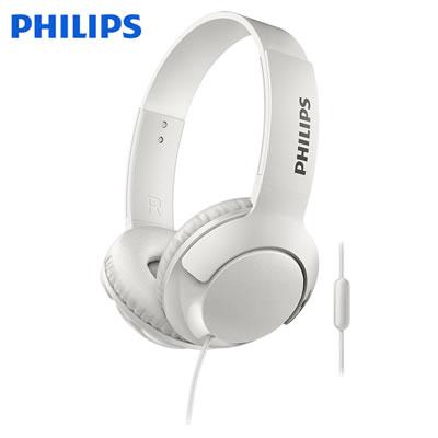 フィリップス Bass+ ヘッドホン オンイヤーヘッドフォン SHL3075 マイク付き 密閉型 SHL3075WT ホワイト PHILIPS【送料無料】【KK9N0D18P】