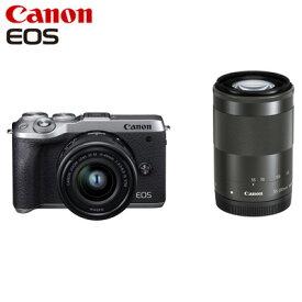 Canon キヤノン ミラーレス一眼カメラ EOS M6 Mark II ダブルズームキット EOSM6MK2SL-WZK シルバー【送料無料】【KK9N0D18P】