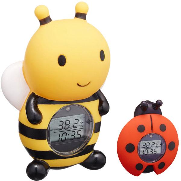湯温計:パパジーノ時計付お風呂用温度計(みつばち)RBTM002【メール便可¥320】