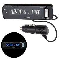 ボルテージメータークロック:車用電圧計+電波時計Fizz-1027