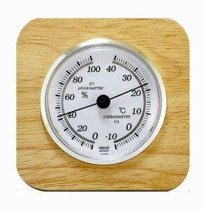 温度計 湿度計 アナログ温湿度計 木枠温湿度計 CR-620 クレセル 卓上/壁掛