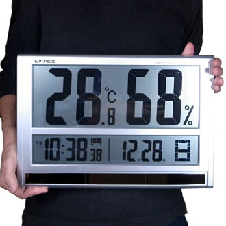 Large Thermo-hygrometer: width 40 cm ultra digital temperature and humidity gauges & time meter TD-8170 (wall-mounted and tabletop)